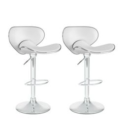 Corliving B 512 VPD Metal Chrome Low Back Armless Bar Stool with White Faux Leather Seat (Set of 2)