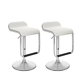 Corliving B 612 VPD Metal Chrome Backless Armless Bar Stool with White Faux Leather Seat (Set of 2)
