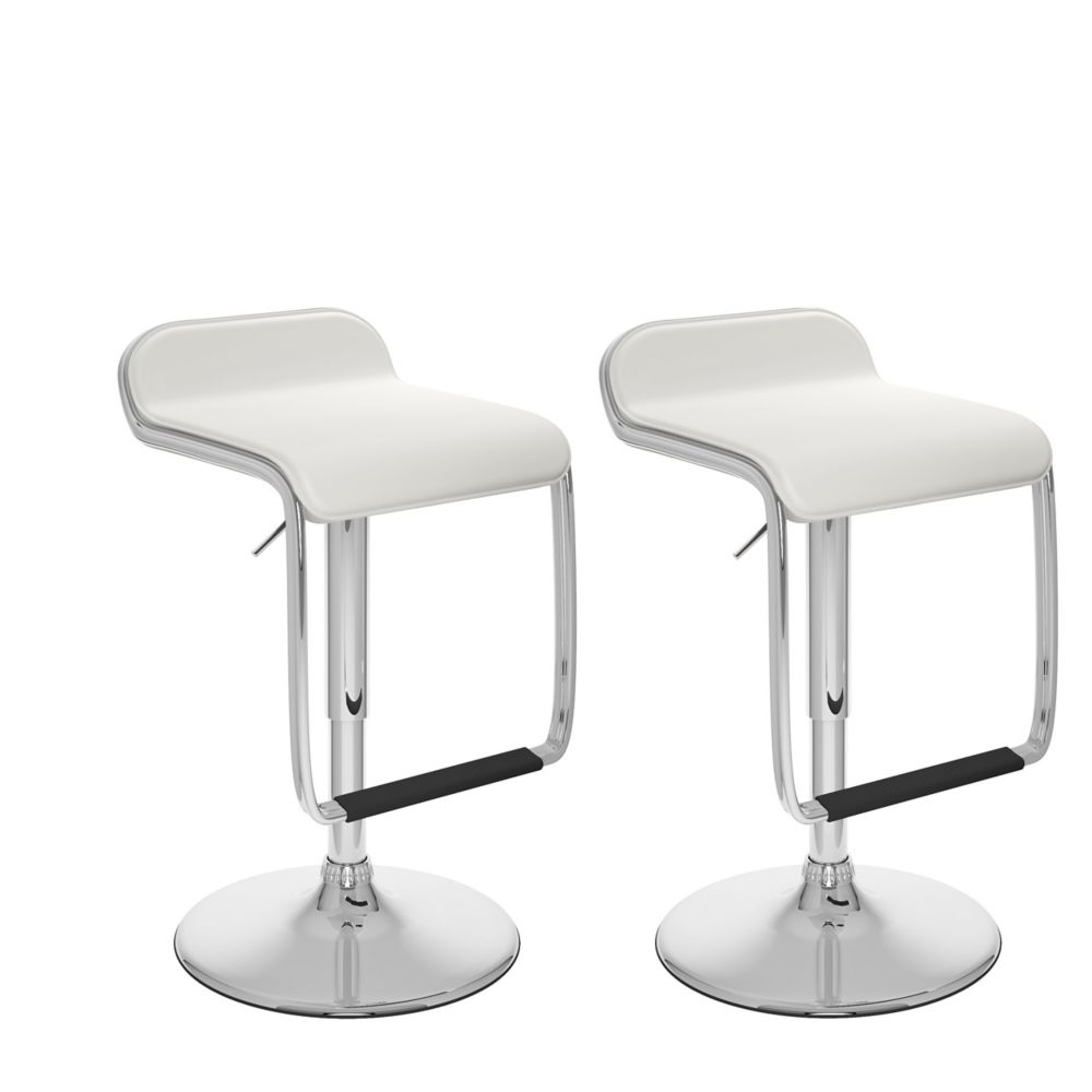 Corliving B 612 VPD Metal Chrome Backless Armless Bar Stool with White Faux Leather Seat - Set of 2