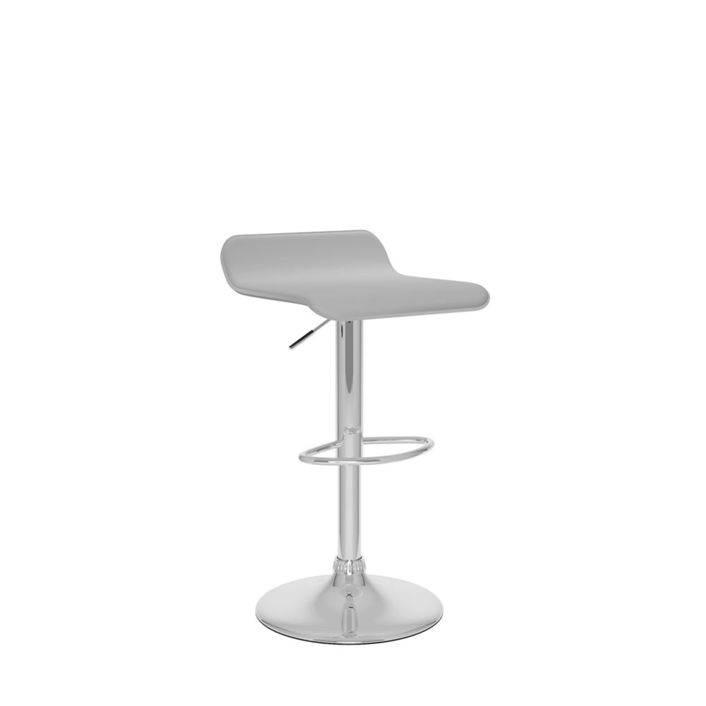 B-812-VPD Curved Adjustable Bar Stool in White Leatherette, set of 2