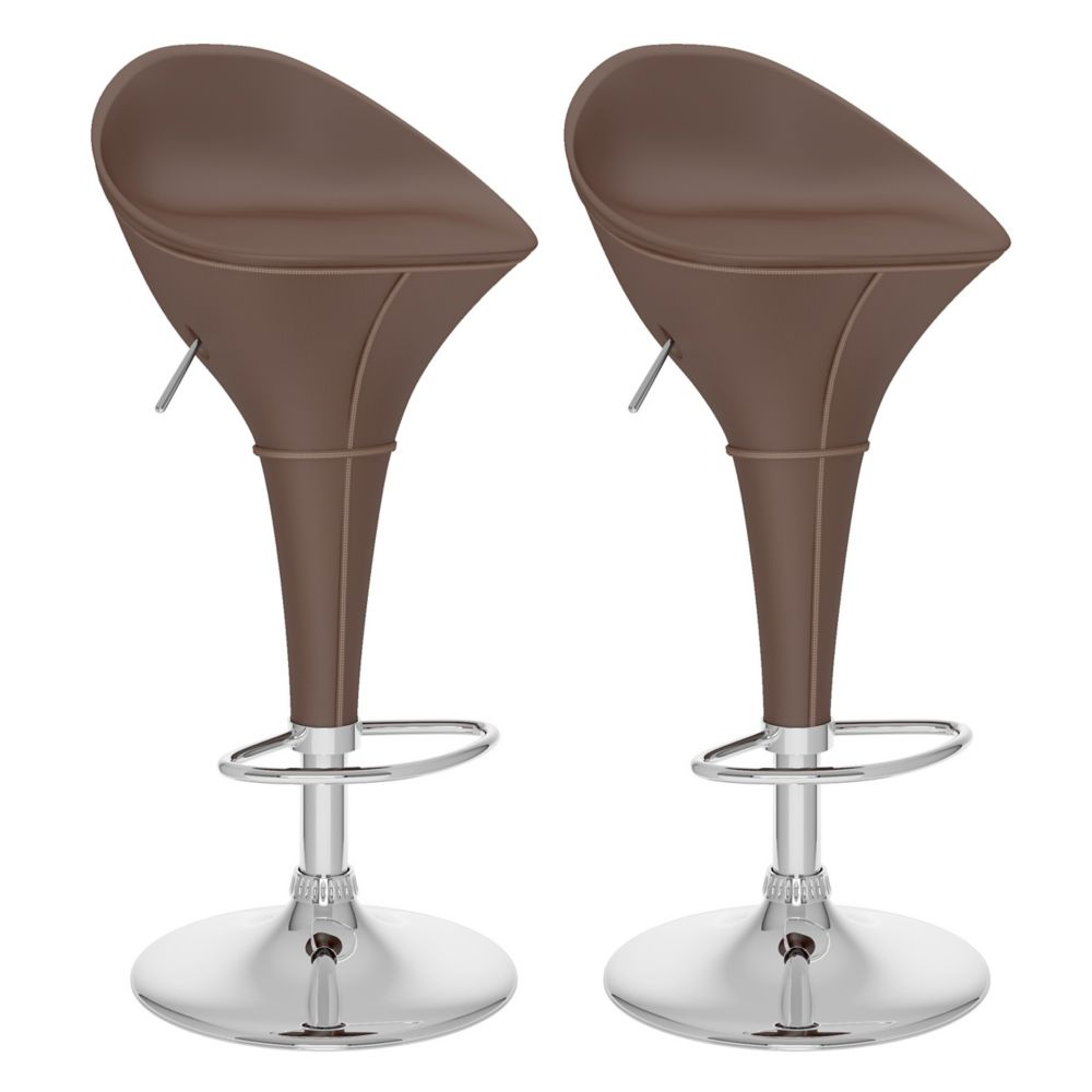 B-332-VPD Round Styled Adjustable Bar Stool in Brown Leatherette, set of 2