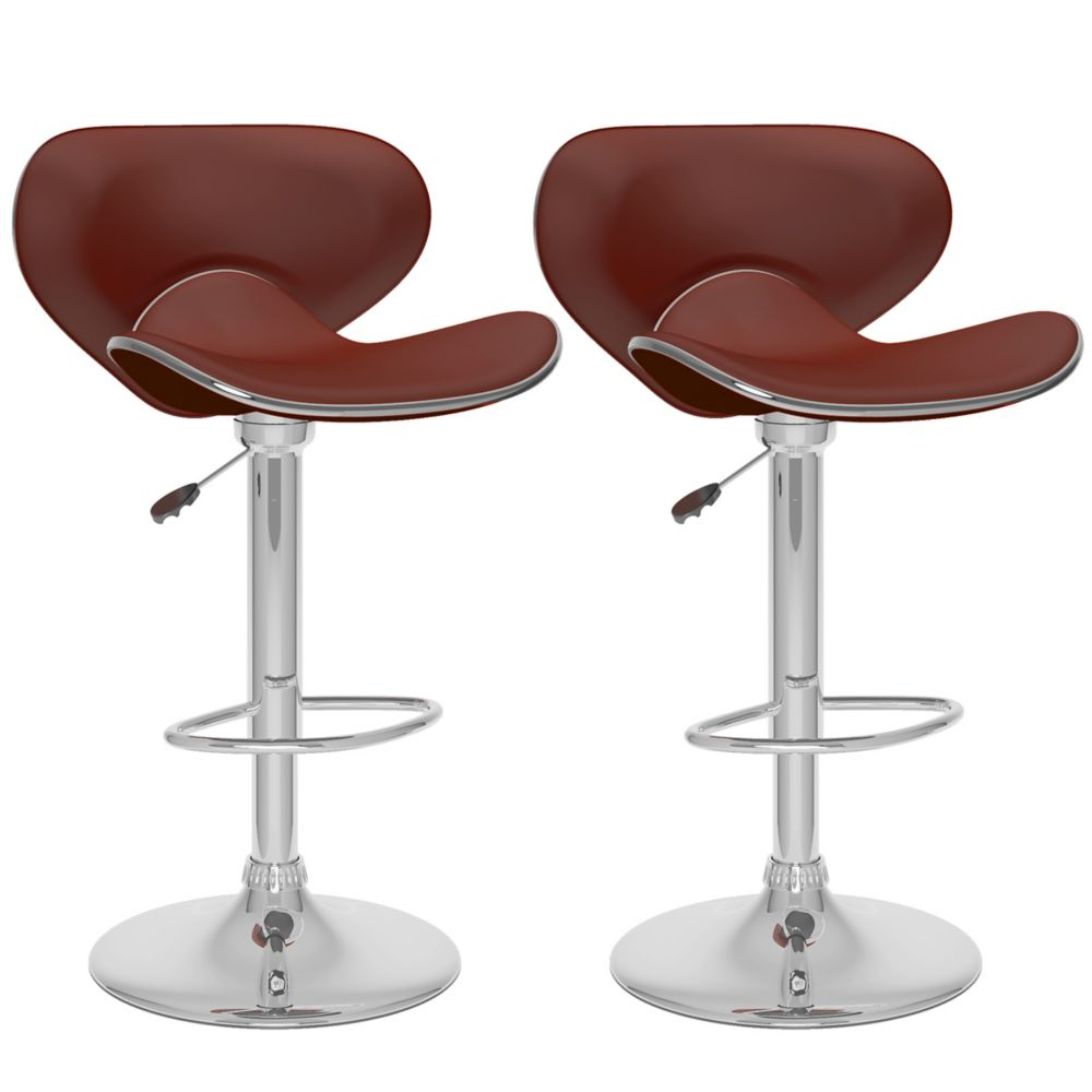 B-532-VPD Curved Form Fitting Adjustable Bar Stool in Brown Leatherette, set of 2