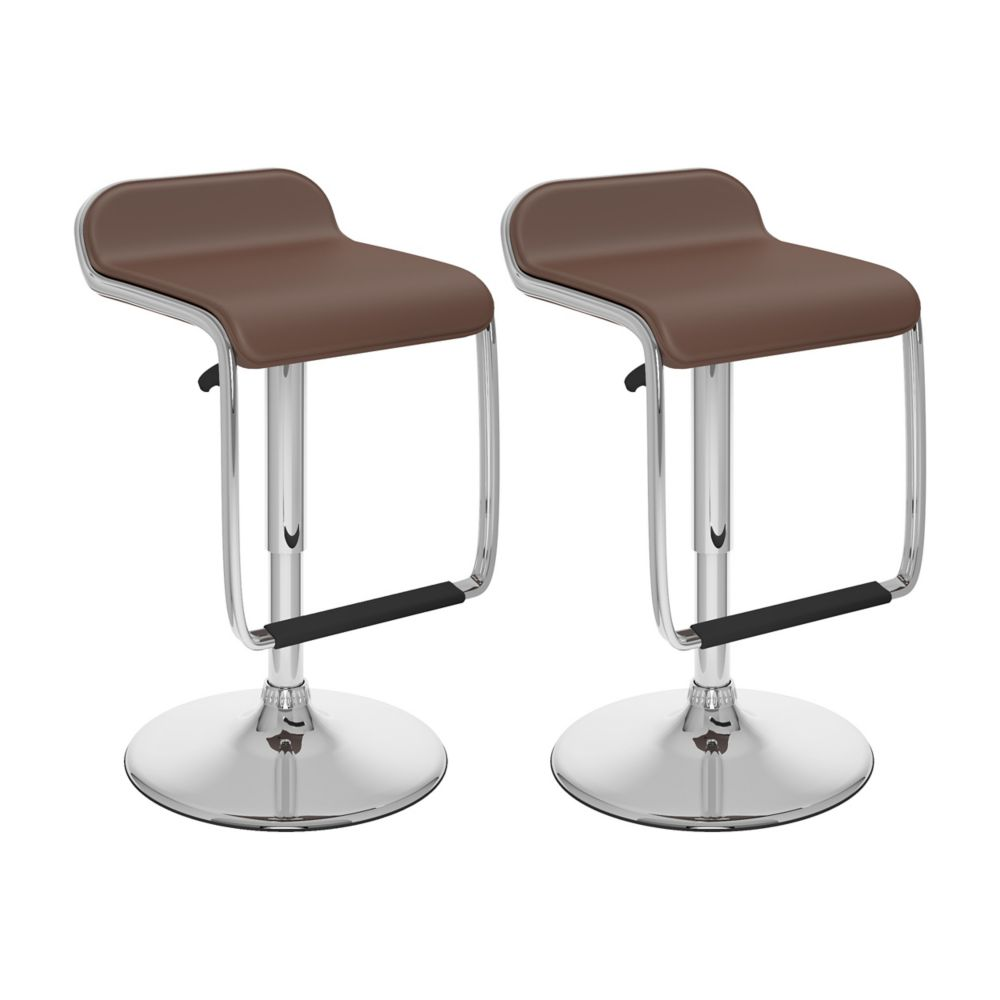 B-632-VPD Adjustable Bar Stool with Footrest in Brown Leatherette, set of 2
