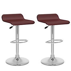 Corliving B 832 VPD Metal Chrome Backless Armless Bar Stool with Brown Faux Leather Seat (Set of 2)