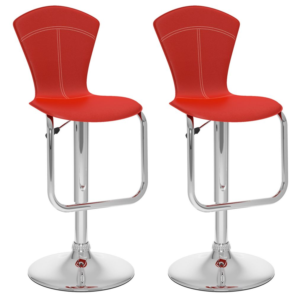 B-252-VPD Tapered Full Back Adjustable Bar Stool in Red Leatherette, set of 2