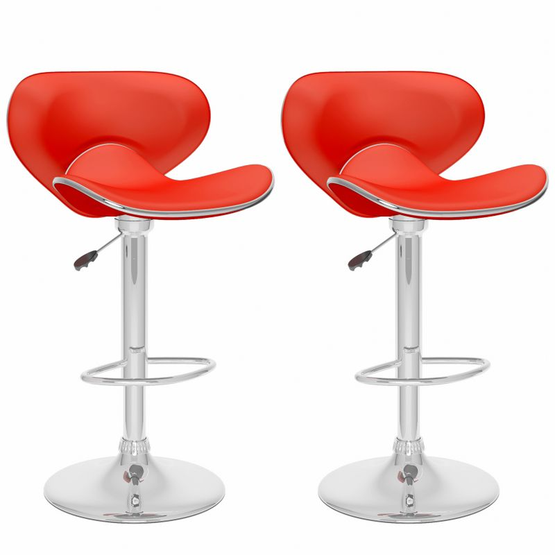 B-552-VPD Curved Form Fitting Adjustable Bar Stool in Red Leatherette, set of 2