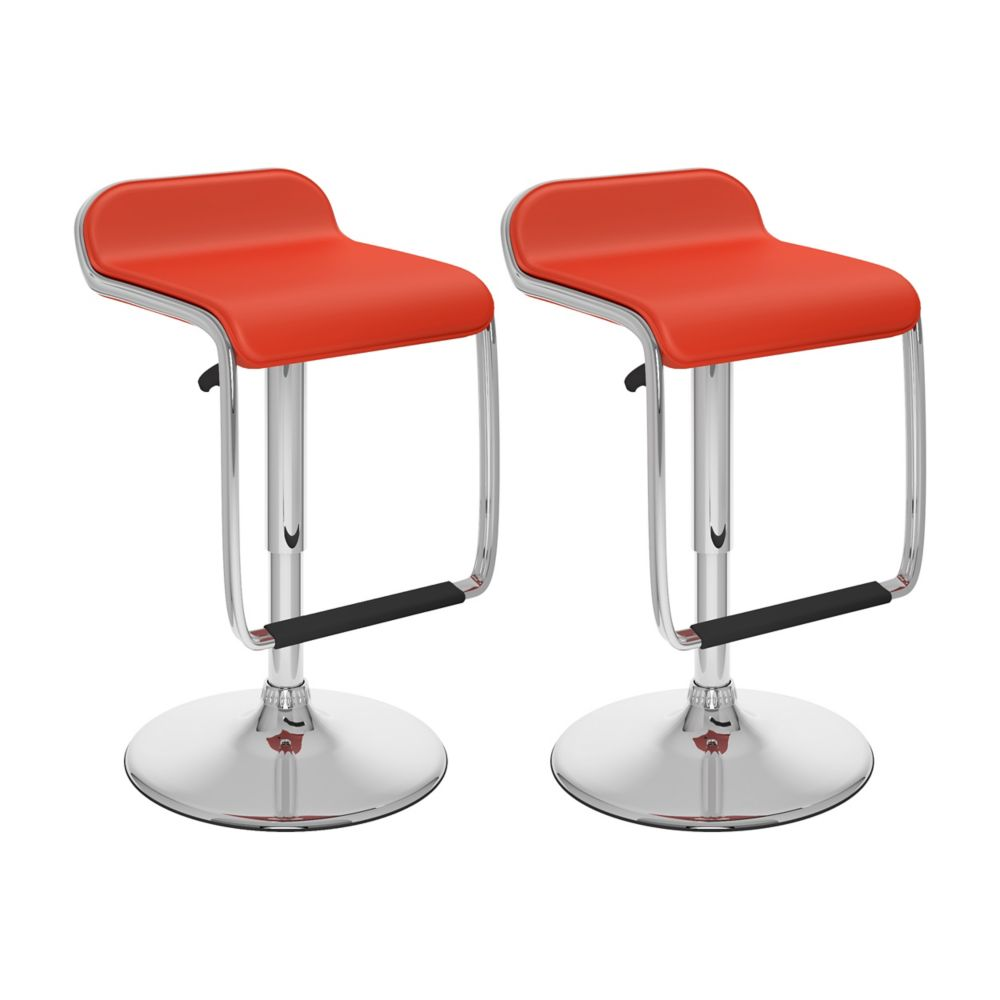 B-652-VPD Adjustable Bar Stool with Footrest in Red Leatherette, set of 2 B-652-VPD Canada Discount