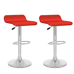 Corliving B 852 VPD Metal Chrome Backless Armless Bar Stool with Red Faux Leather Seat (Set of 2)