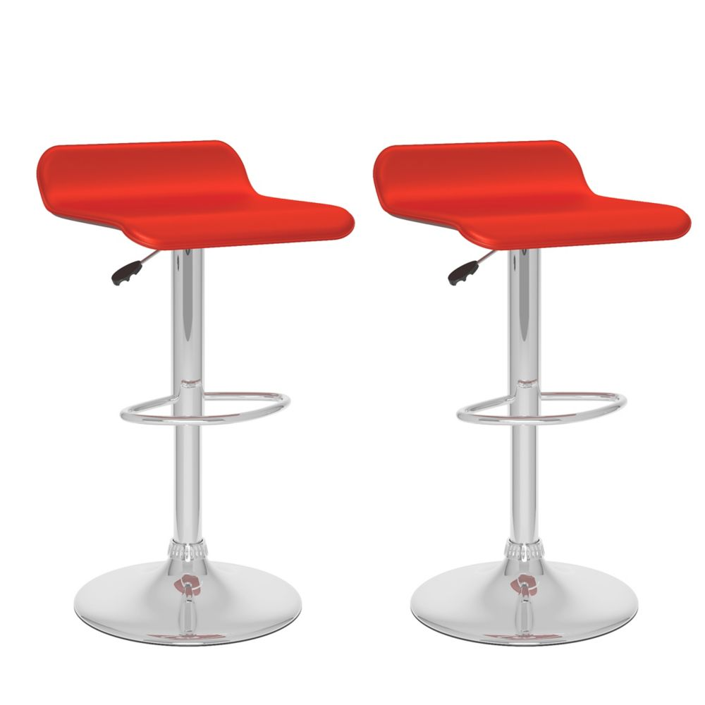 Corliving B 852 VPD Metal Chrome Backless Armless Bar Stool with Red Faux Leather Seat - Set of 2
