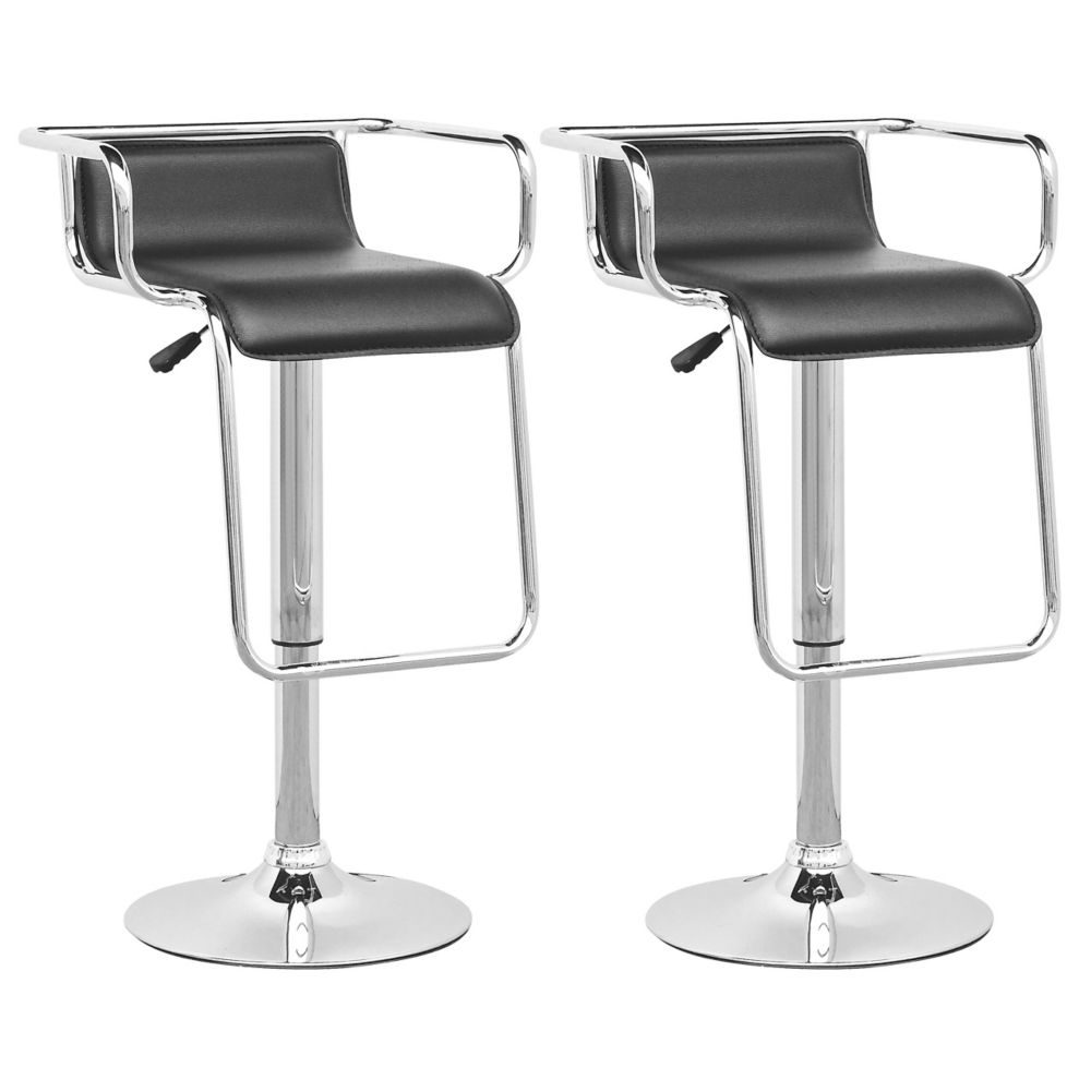 DPV-305-B Adjustable Barstool with Footrest in Black Leatherette, set of 2