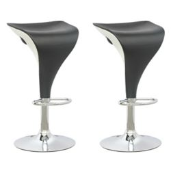 Corliving DPV 405 B Metal Chrome Backless Armless Bar Stool with Black Faux Leather Seat - (Set of 2)