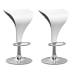 Corliving Metal Chrome Contemporary Backless Armless Bar Stool with White Faux Leather Seat - (Set of 2)