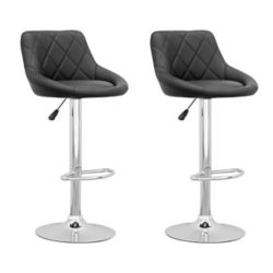 Corliving DPV 507 B Metal Chrome Low Back Armless Bar Stool with Black Faux Leather Seat - (Set of 2)