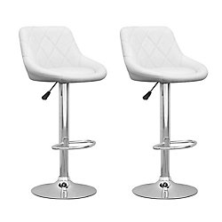 Corliving DPV 517 B Metal Chrome Low Back Armless Bar Stool with White Faux Leather Seat - (Set of 2)