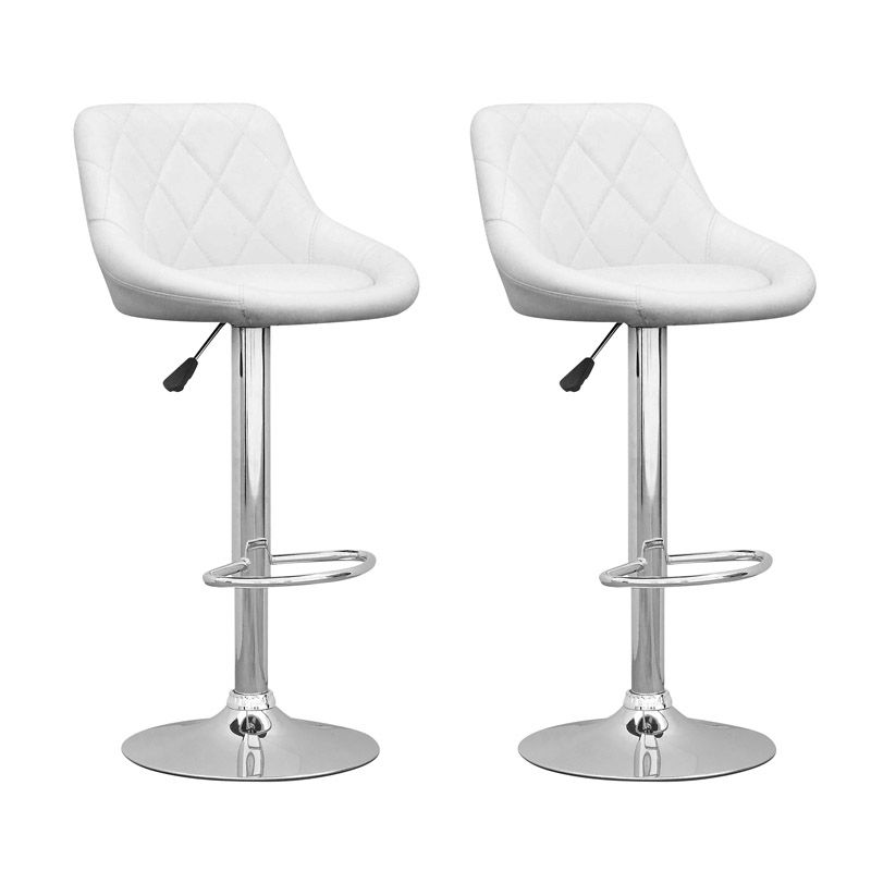 DPV 517 B Metal Chrome Low Back Armless Bar Stool with White Faux Leather Seat - Set of 2