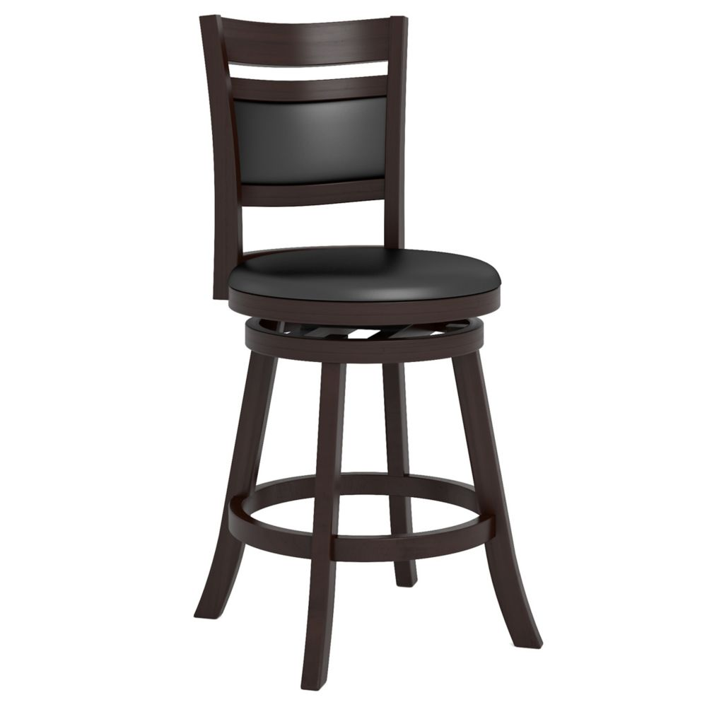 "DWG-294-B Woodgrove Cushion Back 38"" Wooden Barstool in Espresso and Black Leatherette"