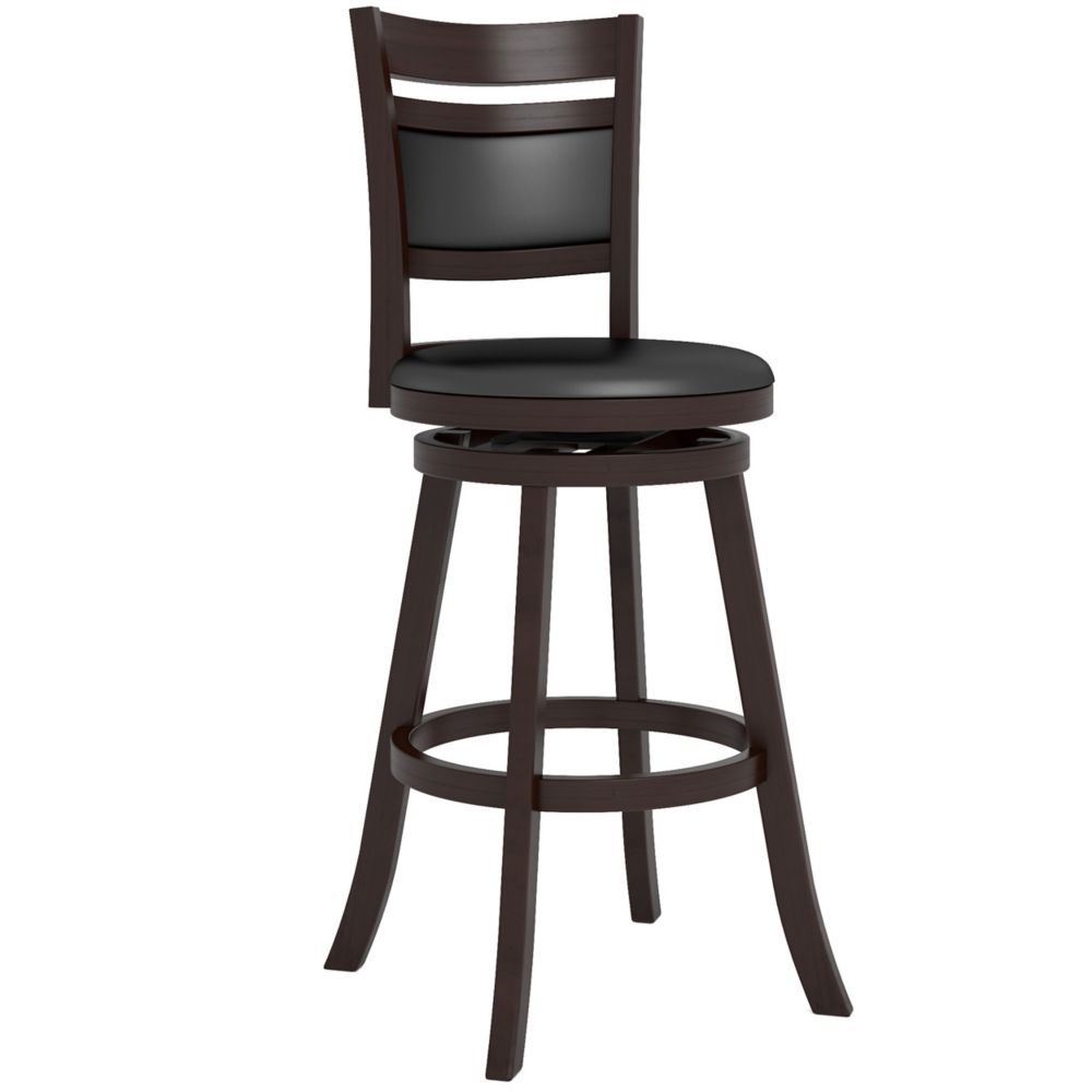 "DWG-299-B Woodgrove Cushion Back 43"" Wooden Barstool in Espresso and Black Leatherette"