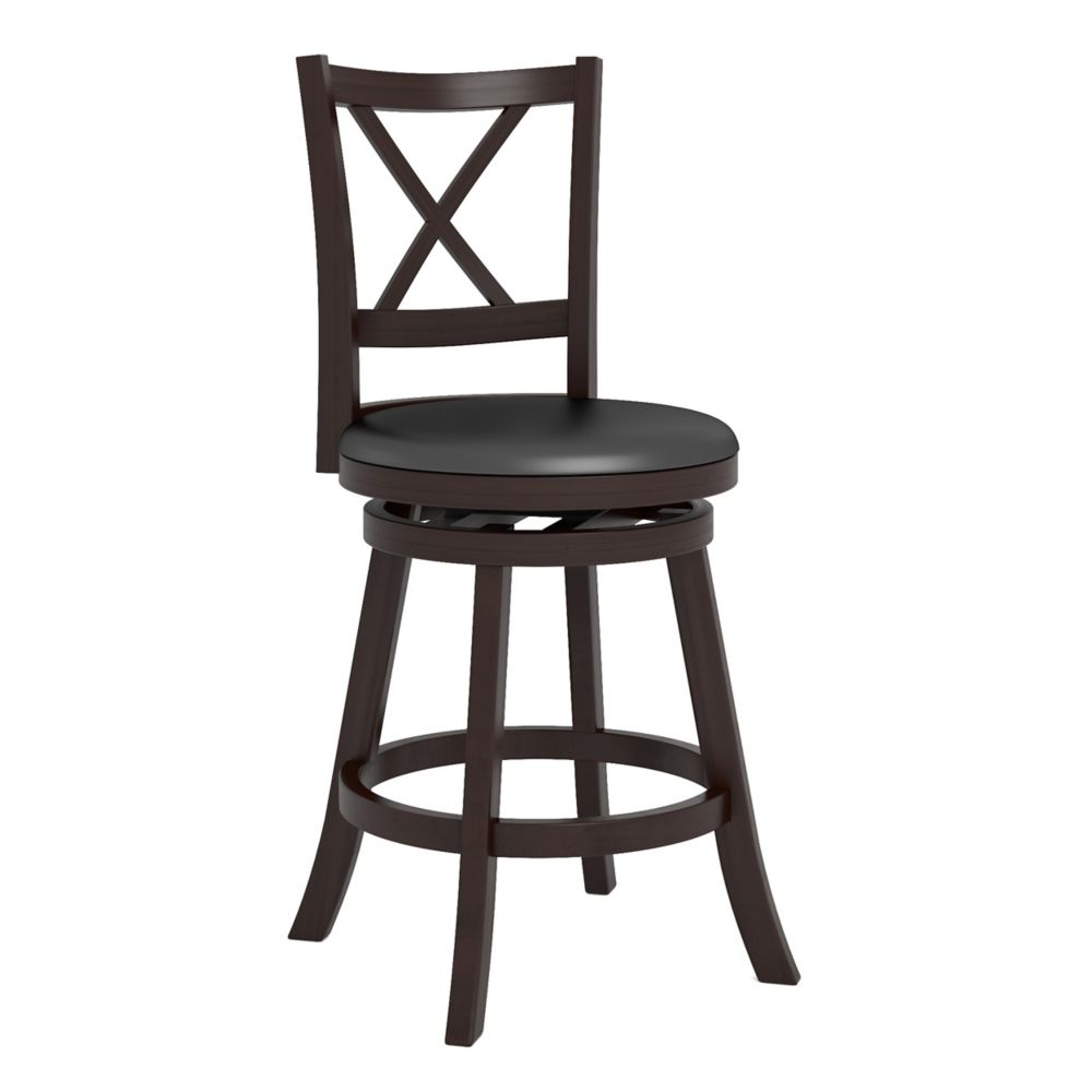 "DWG-394-B Woodgrove Cross Back 38"" Wooden Barstool in Espresso and Black Leatherette"