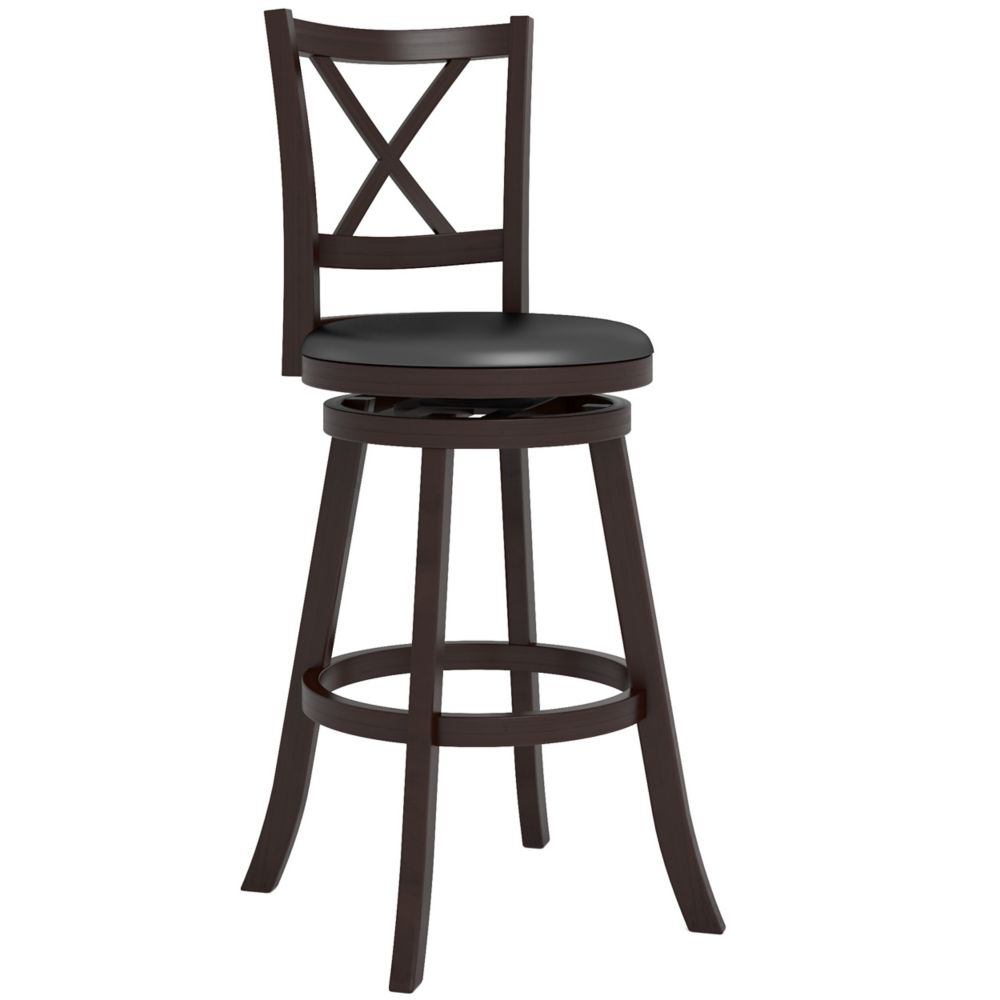 "DWG-399-B Woodgrove Cross Back 43"" Wooden Barstool in Espresso and Black Leatherette"