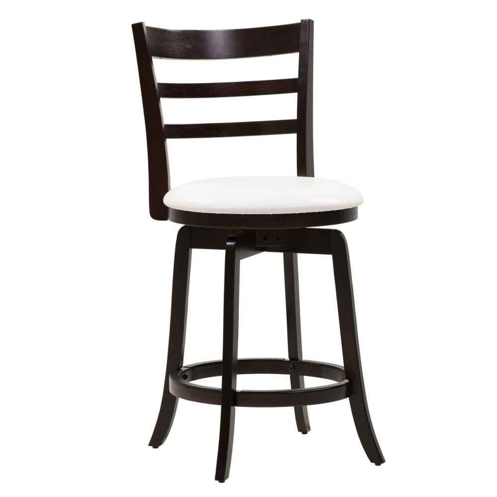 Woodgrove Solid Wood Brown Contemporary Low Back Armless Bar Stool with White Faux Leather Seat