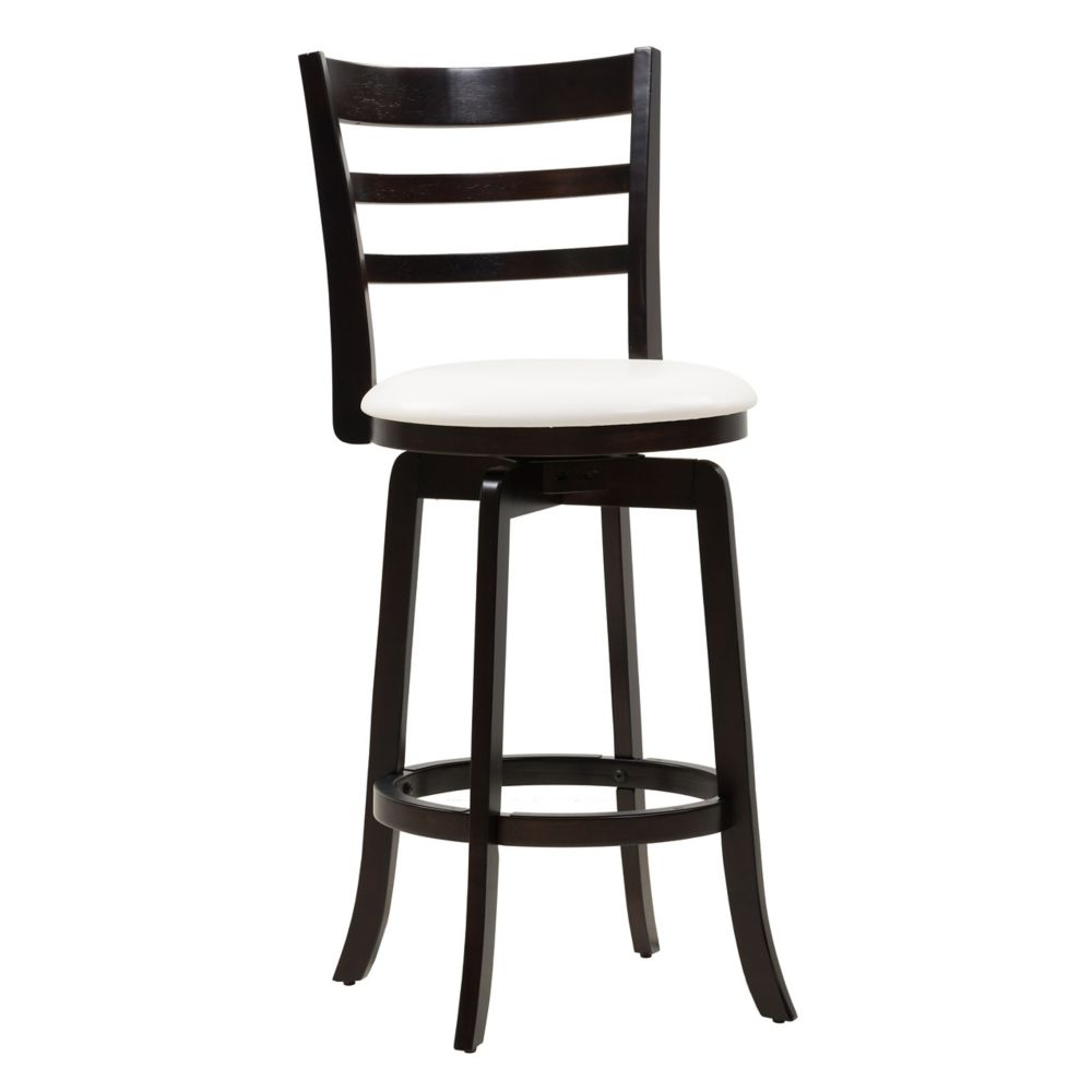 Woodgrove Solid Wood Brown Contemporary Full Back Armless Bar Stool with White Faux Leather Seat