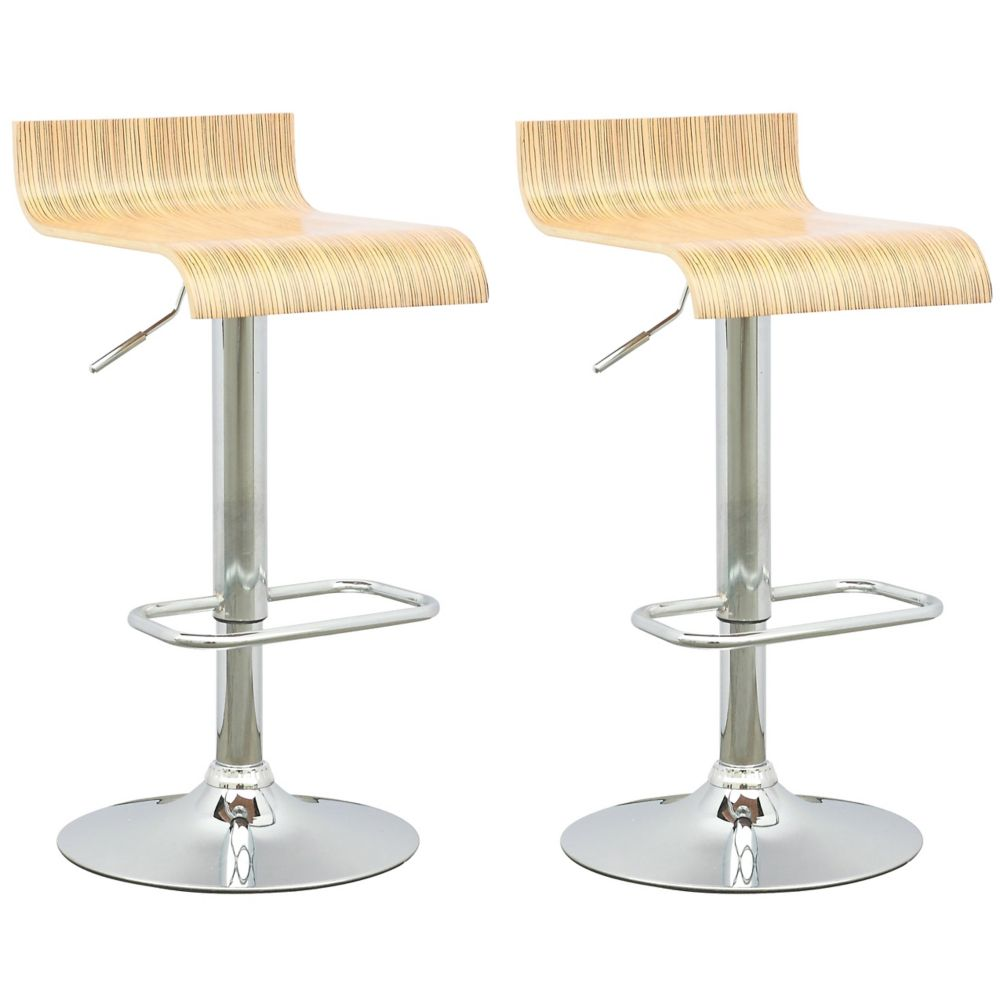DWN-490-B Curved Seat Adjustable Barstool in Light Bentwood, set of 2 DWN-490-B Canada Discount