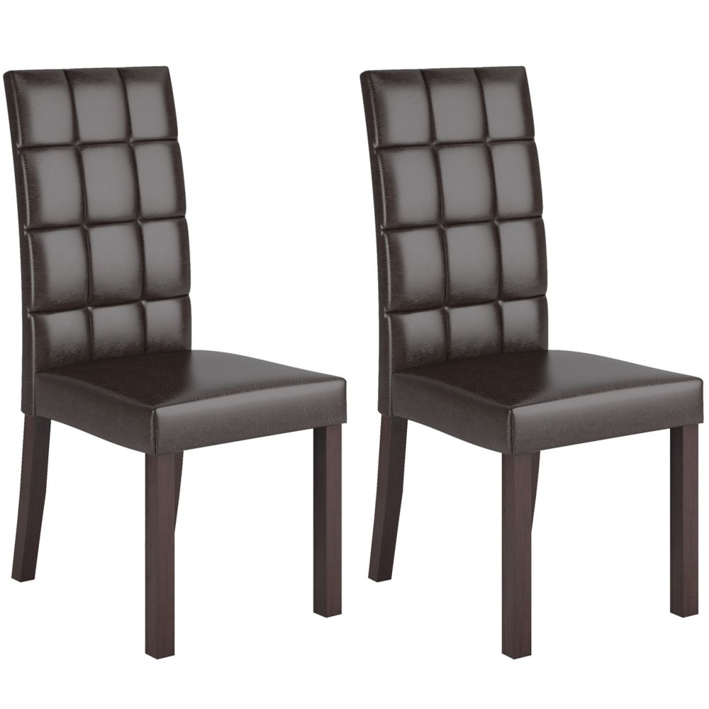 Atwood Solid Wood Brown Parson Armless Dining Chair with Brown Faux Leather Seat - Set of 2