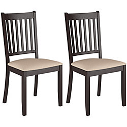 Corliving Atwood Solid Wood Brown Parson Armless Dining Chair with Beige Microfibre Seat (Set of 2)