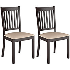 dat295c atwood cappuccino stained dining chairs with microfiber seat set of