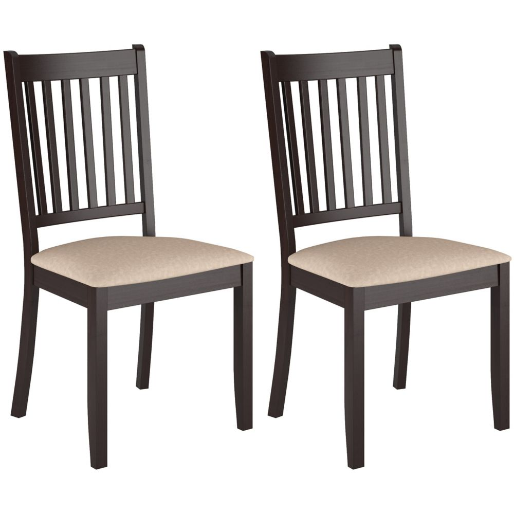 Corliving Atwood Solid Wood Brown Parson Armless Dining Chair with Beige Microfibre Seat - Set of 2