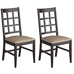 Corliving Atwood Solid Wood Brown Slat Back Armless Dining Chair with Beige Faux Leather Seat - (Set of 2)