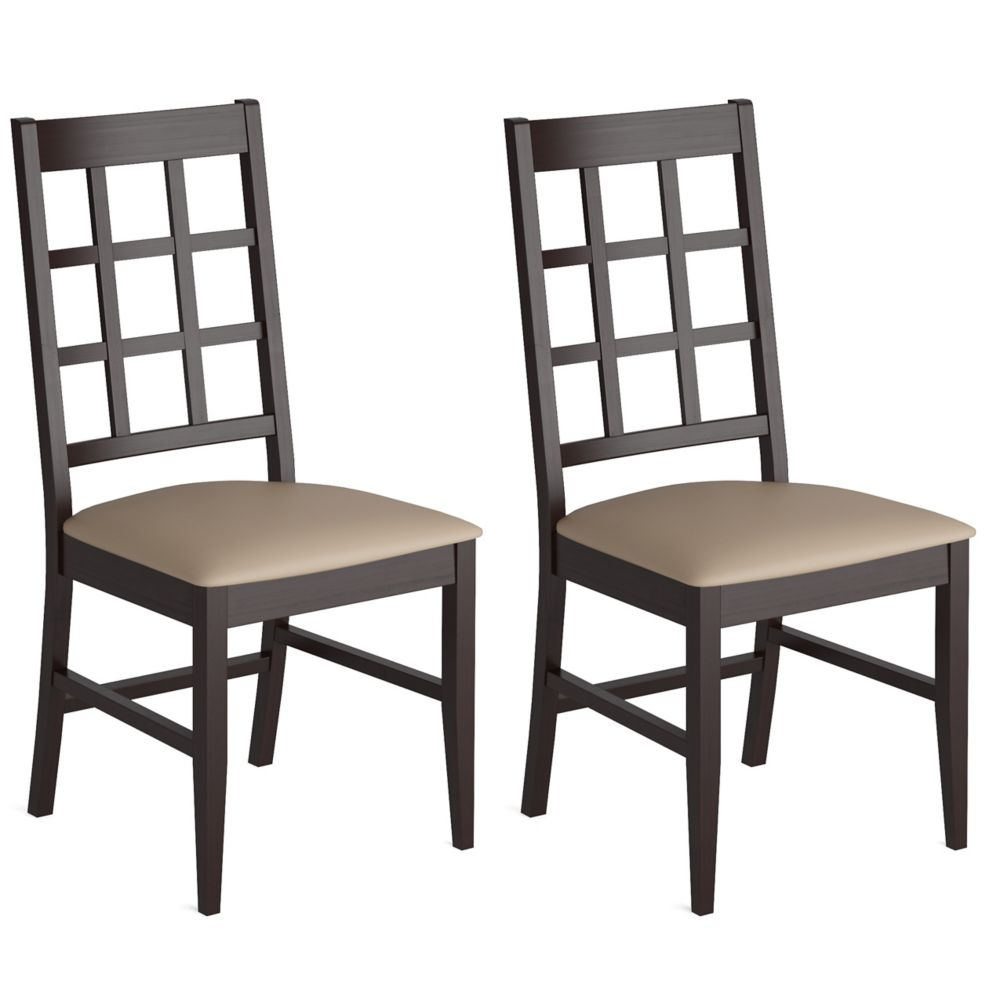 Corliving Atwood Solid Wood Brown Slat Back Armless Dining Chair with Beige Faux Leather Seat - Set of 2