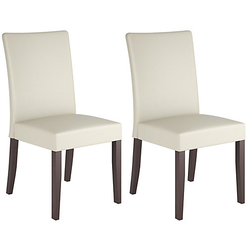 Atwood Solid Wood Brown Parson Armless Dining Chair with White Faux Leather Seat - (Set of 2)