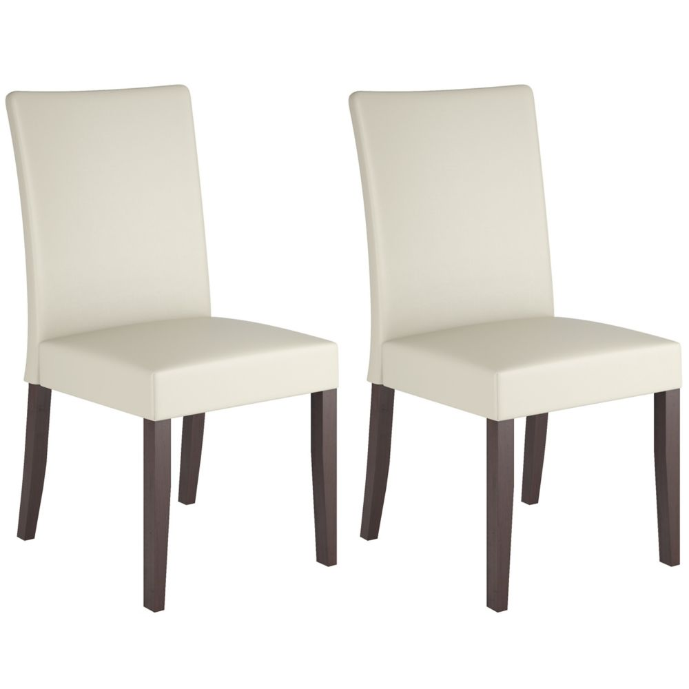Corliving Atwood Solid Wood Brown Parson Armless Dining Chair with White Faux Leather Seat - Set of 2