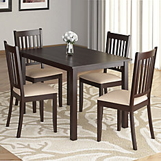 DRG-595-Z Atwood 5-Piece Dining Set, with Beige Microfiber Seats