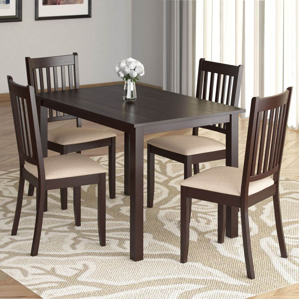 DRG-595-Z Atwood 5pc Dining Set, with Beige Microfiber Seats