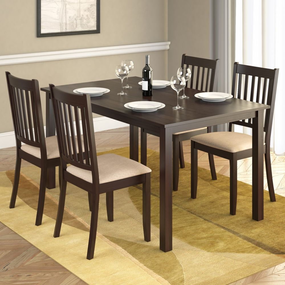 DRG-795-Z Atwood 5pc Dining Set, with Beige Microfiber Seats
