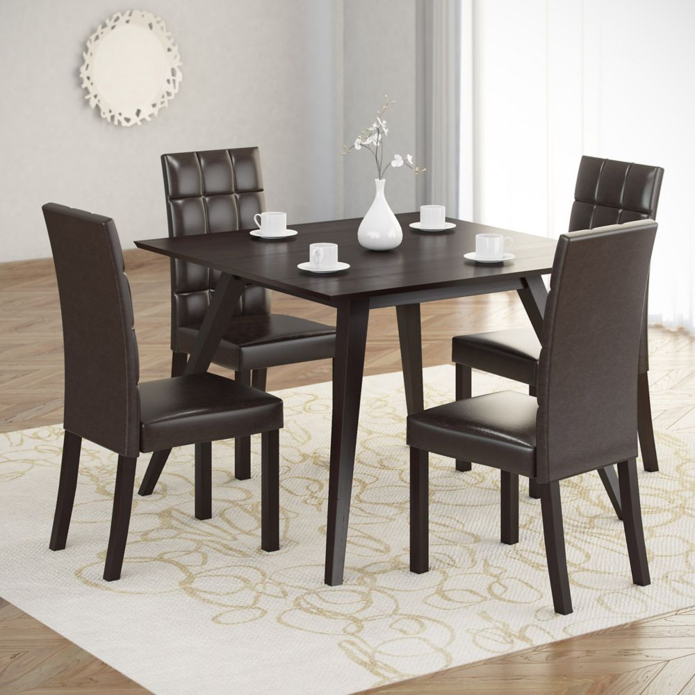 DRG-895-Z Atwood 5pc Dining Set, with Dark Brown Leatherette Seats DRG-895-Z Canada Discount