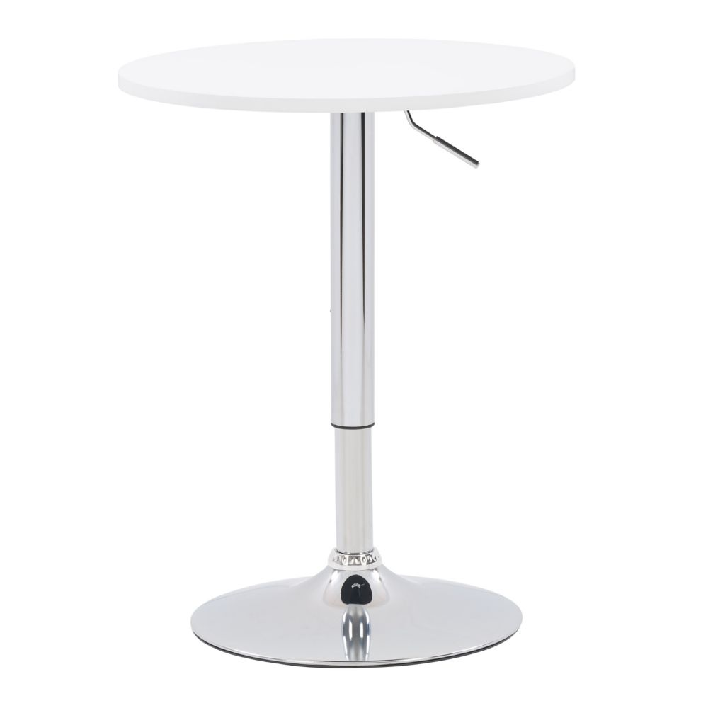 DAW-510-T Adjustable Height Round Wooden Table in White