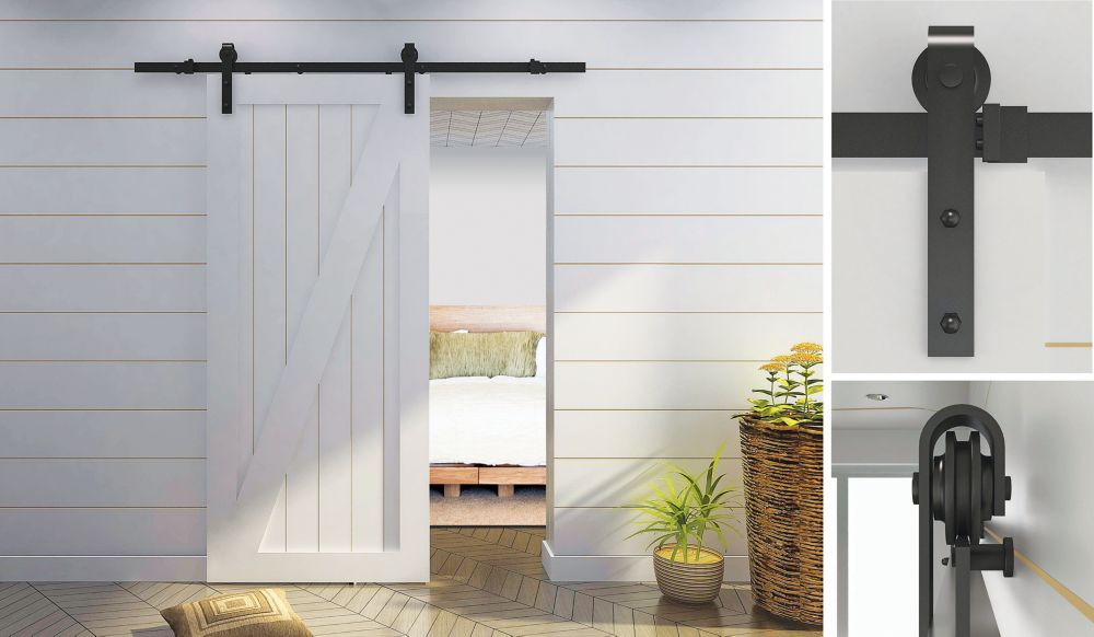 Rustic Style Visible Rail System For Decorative Barn Doors