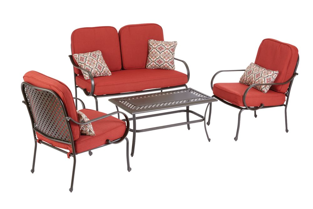Fall River 4-Piece Outdoor Seating Set in Red