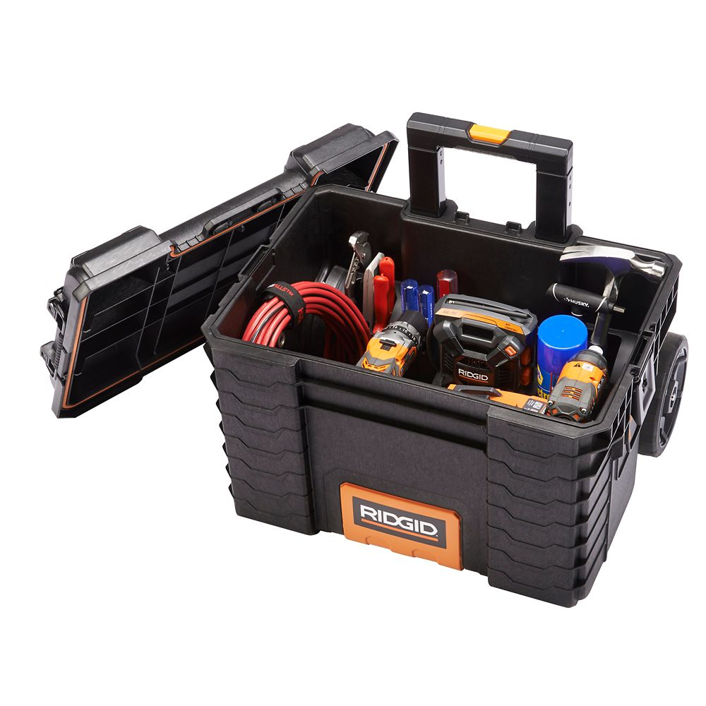 Rigid 22-Inch Gear Cart Pro Wheeled Tool Storage Tote in Black 17200383