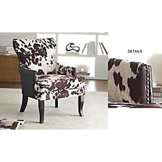 Angus Rustic Wingback Faux Leather Accent Chair in Brown with Animal Print Pattern