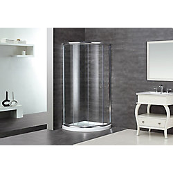 Aston 36-Inch  x 36-Inch  x 77 1/2-Inch  Semi-Frameless Round Shower Stall in Stainless Steel