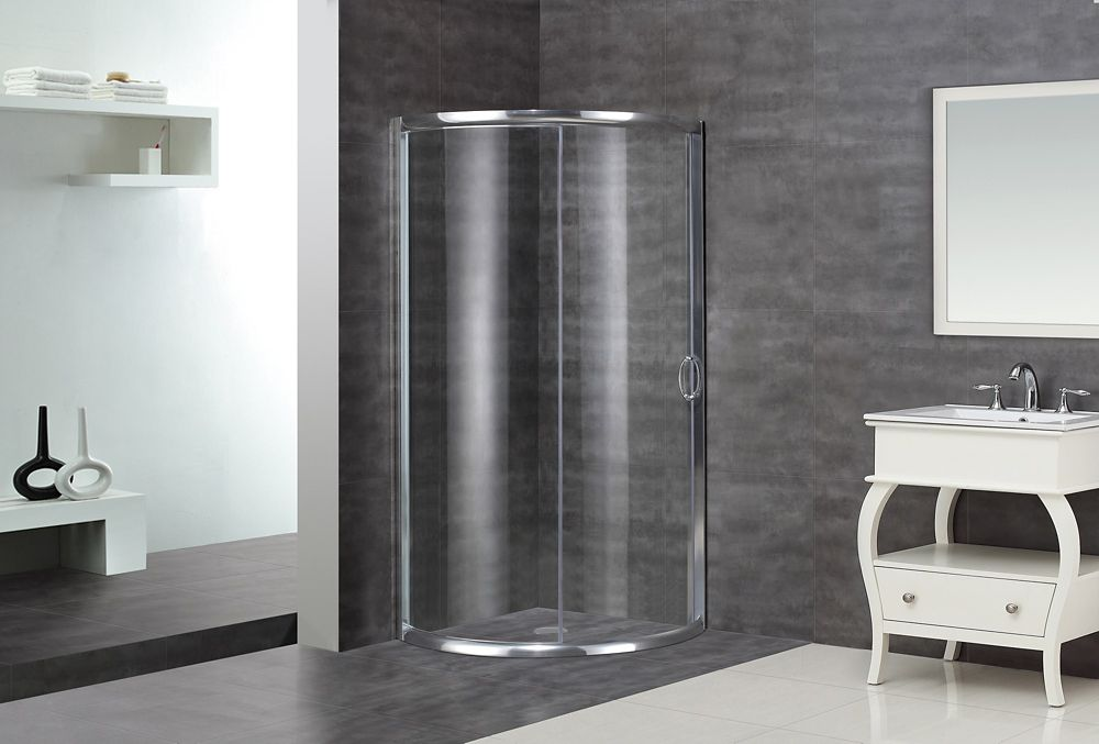 40-Inch  x 40-Inch  Round Shower Stall in Stainless Steel