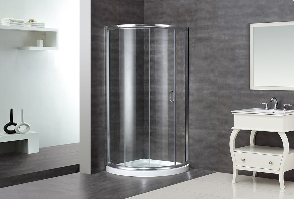 40-Inch  x 40-Inch  x 77 1/2-Inch  Semi-Frameless Round Shower Stall in Stainless Steel with Base