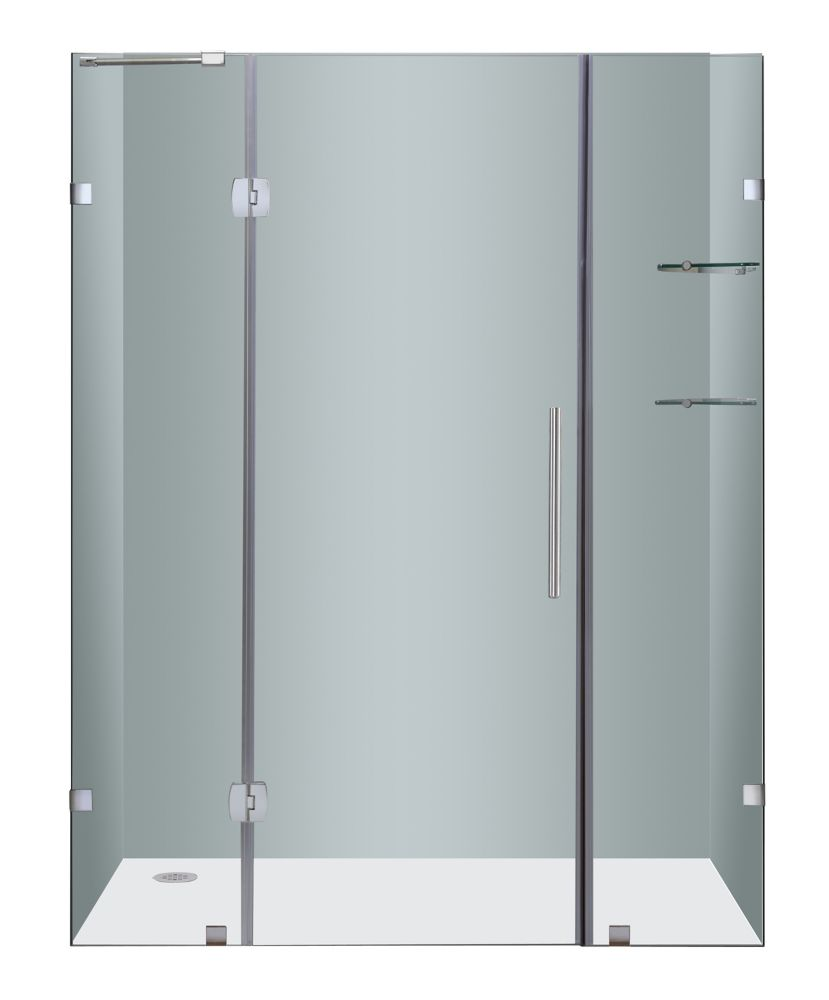 Soleil 60 In. x 75 In. Completely Frameless Hinge Shower Door with Glass Shelves