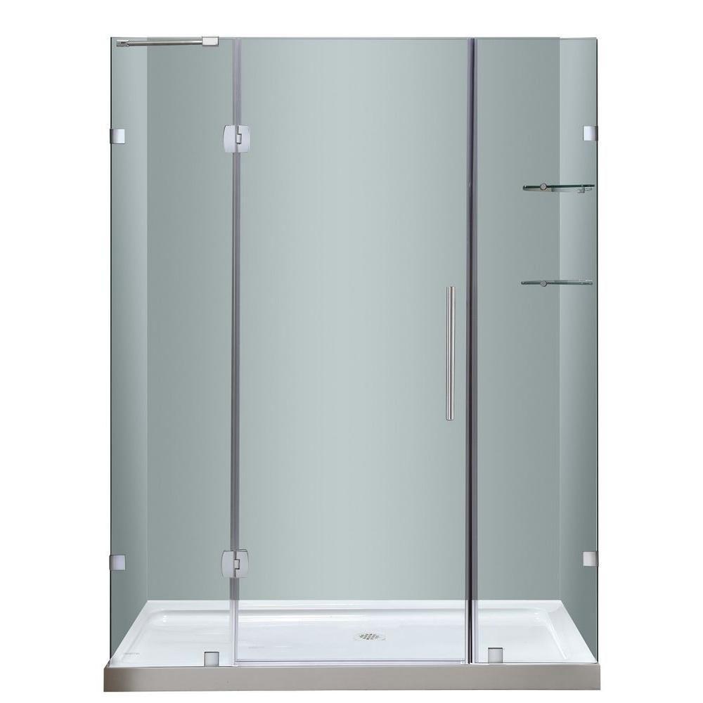 Aston Soleil 60 In. x 77.5 In. Completely Frameless Hinge Shower Door with Glass Shelves & Center Base