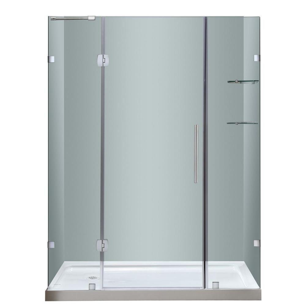 60 po x 77.5 po porte de douche sans cadre charnière en Acier Inoxydable avec étagères en verre a...