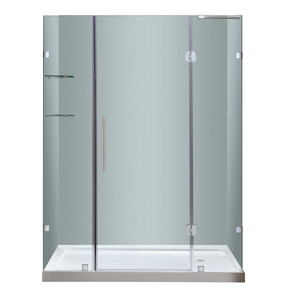 Soleil 60 In. x 77.5 In. Completely Frameless Hinge Shower Door with Glass Shelves &  Right  Base